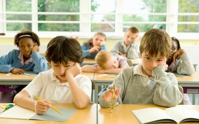 Children (6-12) in class, one girl sleeping   Original Filename: 200449839-003.jpg